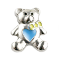 Silver Bear Charm with Blue Heart