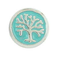 Family Tree Disc Charm - Teal/Light Blue