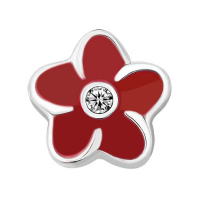 Plumeria Flower Charm with Crystal Accent - Red