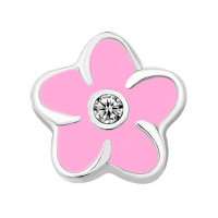 Plumeria Flower Charm with Crystal Accent - Pink