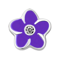 Plumeria Flower Charm with Crystal Accent - Purple
