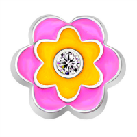 Fuchsia Pink, Yellow and Crystal Flower Charm