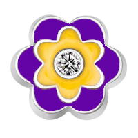 Purple, Yellow, and Crystal Flower Charm