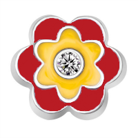 Red, Yellow, and Crystal Flower Charm