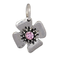 Silver 4-Leaf Clover with Pink Crystal Charm